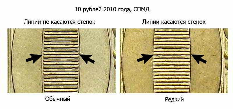 ценная разновидность 10 рублей 2010 года