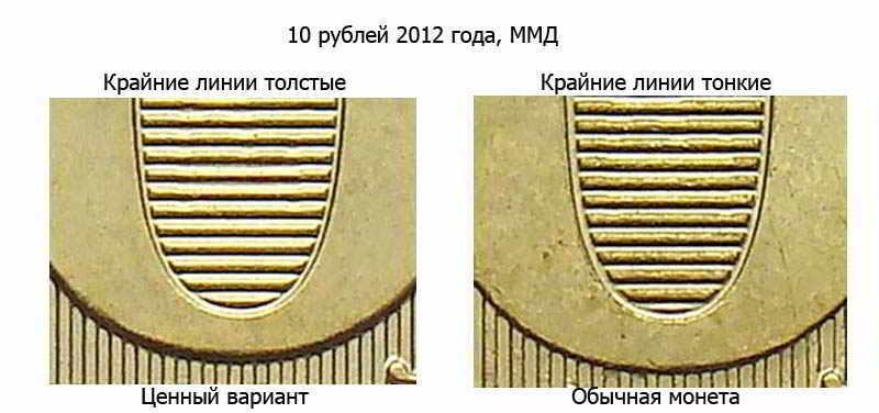 фото 10 рублей 2012 года с толстыми линиями